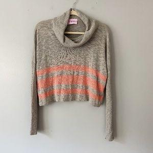 Sweet & Sunful NY Gray Stripe Crop Cowl Sweater